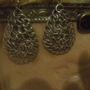 Sterling Silver Woven Mesh Teardrop Earrings